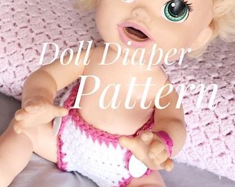 Crochet Pattern//Crochet Baby Doll Diaper//Baby Doll Clothes//Crochet Toy//Toy Pattern