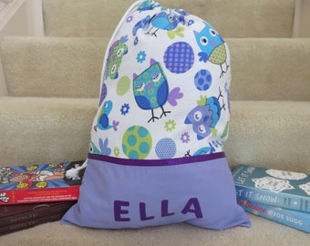 Girls Personalised Library Bag / Book Bag - OWLS