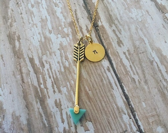 Custom Handstamped Arrow Initial Necklace, personalized gold jewelry, Stamped Arrow Monogram Necklace, gift for her