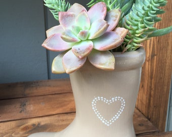 Custom ceramic boot planter with stenciled design, indoor outdoor planter, succulents and small plant pot, gift idea