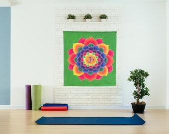 Hand Painted Batik Lotus Om wall hanging