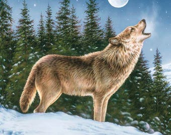 Riley Blake - Majestic Wolf Panel - PD5570-WOLF - PLEASE NOTE : Panel is digitally printed