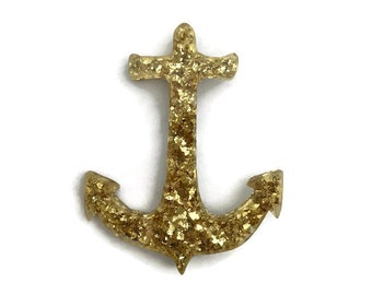 Gold Anchor Brooch, Retro Glitter Resin Brooch, Vintage Style Lucite Pin, Pin up, Rockabilly, 40s, 50s, Nautical