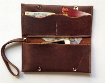 Leather wallet, handmade, distressed leather, Kodiak leather, phone, clutch, made in PEI
