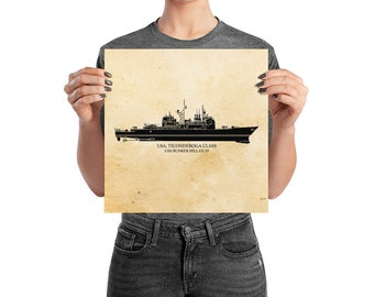 KillerBeeMoto: Ticonderoga Class Cruiser Print With Custom Vessel Name Option