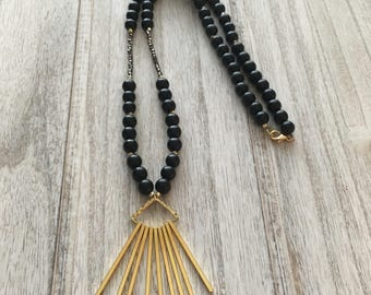 Gold Spike + Onyx Beaded Necklace