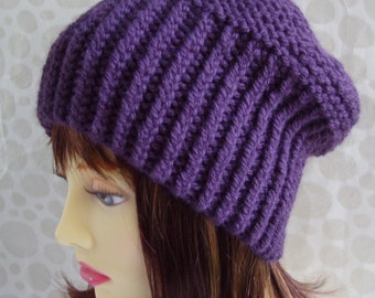 KNITTING PATTERNS PARIS/ Slouchy Beanie Hat Pattern Chunky Knit Ribbed Slouch Hat/ Knit Straight