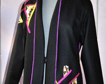 Colorful Tissea jacket black peacoat and decorations