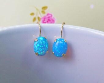 14K Gold Earrings, Blue Opal Earrings, Delicate Earrings, Oval Earrings, Gold Drop Earrings, Oval Drop Earrings, Blue Opal, Dangle Earrings
