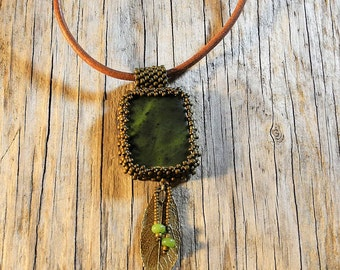 Beaded Cabochon Beaded Bale Necklace  - Bead Weaving - Statement Necklace - Jade Cabochon Pendant - Leather Cord - BOHO