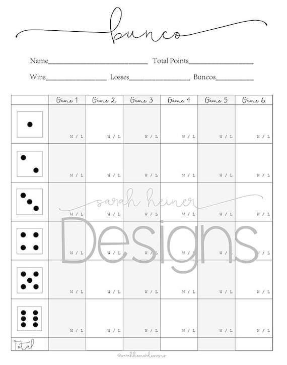 Handy image throughout cute bunco score sheets printable