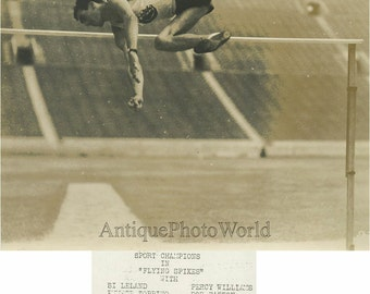 Track athlete in high jump antique sport photo