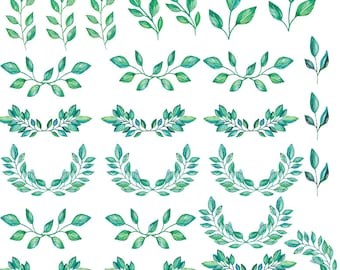 Leaf Elements In Teal - Ceramic Waterslide Decal - Enamel Decal - Fusible Decal - 89302
