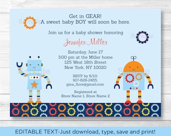 Robot Baby Shower Invitation / Robot Baby Shower Invite / Robot Baby Shower Theme / Baby Bots / Boy / INSTANT DOWNLOAD Editable PDF A259