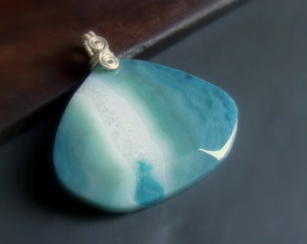Ocean colored Agate silver necklace, big stone OOAK jewelry, sterling silver jewelry, handmade gift for women