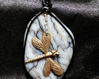 Blue Chert Pendant with Dragonfly Charm