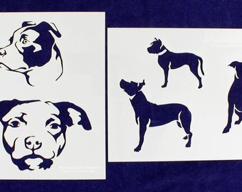 "Pit Bull Dog Stencil Set  8"" x 10"" - Stencil-  14 Mil Mylar - 2 pieces"