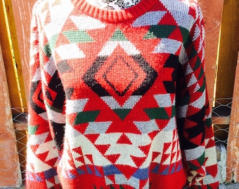 90s Red London Fog Southwestern Knit Sweater Size Large