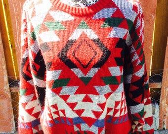 90s Red London Fog Southwestern Knit Sweater Size Large