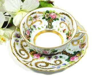 Antique Hand Painted Austrian Cup and Saucer C. Reizenstein Pittsburgh
