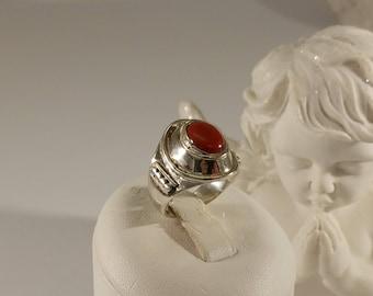 18.3 mm Ring Silver 925 Carnelian nostalgic SR752