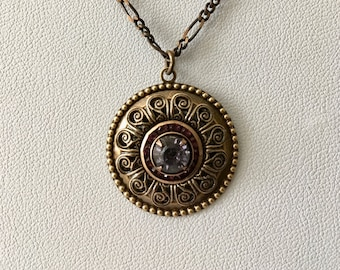 Lavender Swarovski Filigree Medallion Necklace
