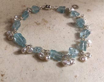 Blue Apatite Bracelet - Sterling Silver Jewelry - White Pearl Gemstone Jewellery - Chic - Lux