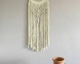 Macrame wall hanging, Bohemian Decor, Cream Wall Tapestry, Rope art, boho dream catcher, Modern dreamcatcher, crochet doily decor