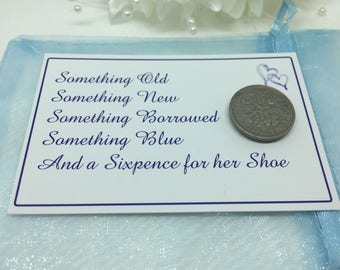 Something Blue, Sixpence for her Shoe, sixpence gifts, good luck bride, sixpence wedding gift, lucky sixpence