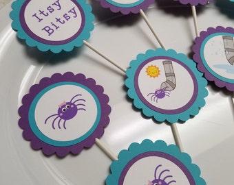 Itsy Bitsy Spider cupcake toppers, Itsy Bitsy Spider birthday banner, Itsy Bitsy Spider centerpiece, Itsy Bitsy spider baby shower