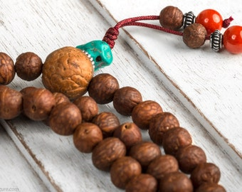 Buddhist Mala Necklace, Raktu Bodhi Seed Tibetan Mala Beads - Buddhist Prayer Beads, Wood Mala