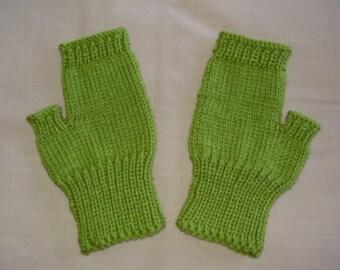 Hand knit Fingerless Gloves - Lime Green