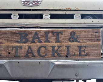 Rustic Wood Bait and Tackle Sign
