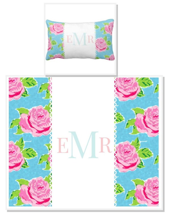 Custom Personalized Pillow Sham 12x16 Watercolor Rose Ocean Lace, Monogram Pillow Gift, Shabby Chic, Nursery Accent Pillow, Dorm Decor