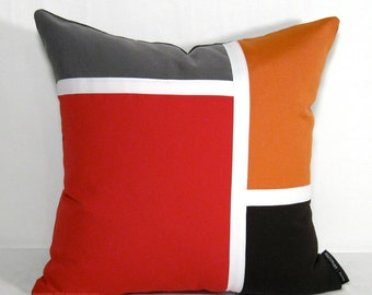 Outdoor Pillow Cover, Mid Century Modern Pillow Cover, Red Brown Color Block, Grey & Orange Pillow Case, Decorative Sunbrella Cushion Cover