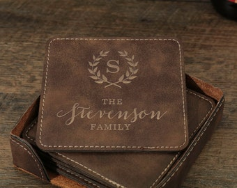 Personalized Coasters, 3rd Anniversary Gift, Leather Coasters, Custom Coasters, Custom Engraved Coasters, Personalized Family Name Gift