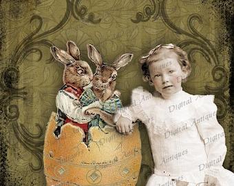 Vintage Easter Photo Fantasy Collage feuille numérique à télécharger