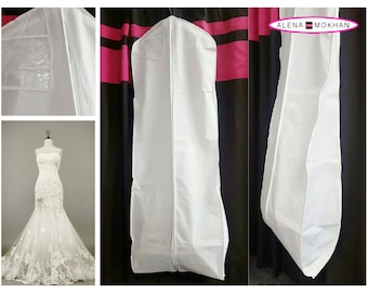 """White Breathable Bridal Wedding Gown Prom Dress Garment Bag Extra Long with 10"""" Gusset"""