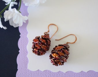 Copper Pinecone Earrings, Antique Copper Pine Cone Earrings, Real PineCone, Copper Pine Cones, Redwood, Pine Tree, Fall, Autum Earrings PC50