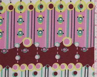 Brick/Pink/White Circle Print Satin Charmeuse, Fabric By The Yard