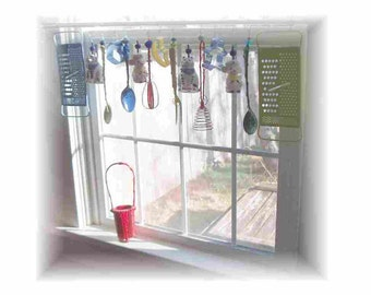 Whimsical Cat and Mouse   Kitschy  Kitchen Window Treatment Valance Curtain