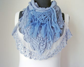 Fringe Triangle Scarf for Womens Christmas gift Steampunk Cloth Victorian Fashion lace Scarf flounces accessories Winter Elegant mocca scarf