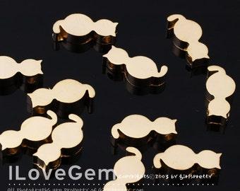 4pcs, NP-1450 Matt Gold plated, Cat pendant, Cat Beads, Cat Necklace Pendant, Animal Pendant, Kitty pendant