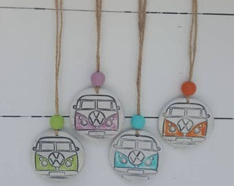 Handmade Clay VW Camper Van Tag -  Gift, Decor, home