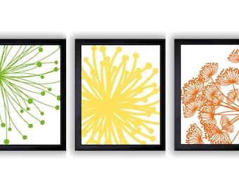 Green Yellow Orange Flower Print Flowers Dandelion Set of 3 Art Prints Wall Decor Bathroom Modern Minimalist