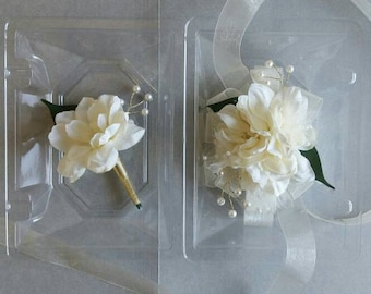 Ivory / Light Champagne and Gold Wrist Corsage with Matching Boutonniere Prom Set Artificial Flowers  Ready To Ship