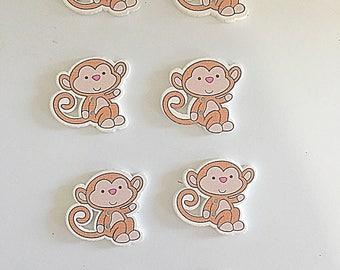 Monkey buttons, monkey flatbacks, novelty buttons, monkey embellishment, scrapbooking supplies, hairbow supplies