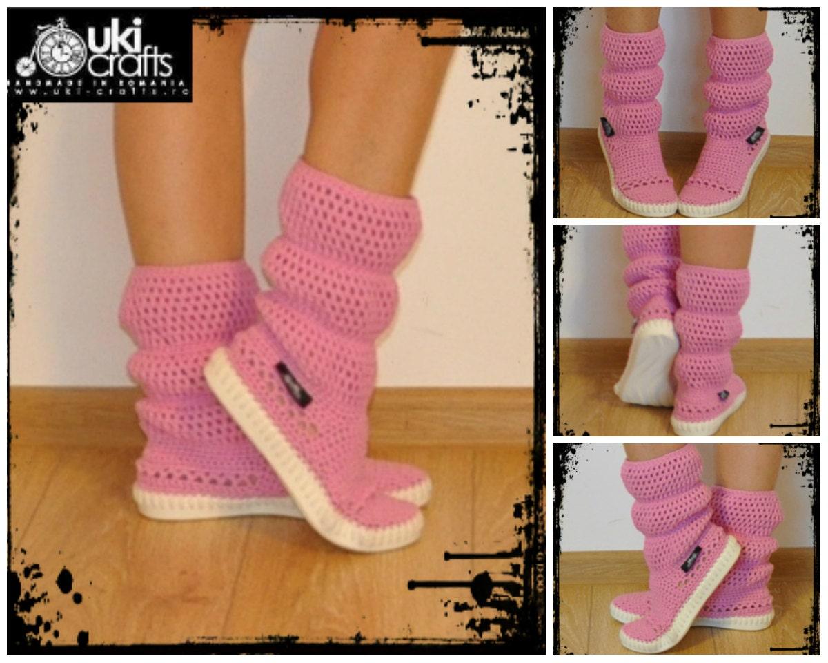 Botas al aire libre Crochet Crochet Botas Zapatos de punto