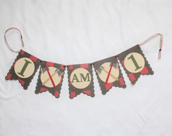 Lumberjack Theme Party Banner - I Am One Birthday Banner - Highchair Decoration - Red and Black Buffalo Plaid - MADE TO ORDER