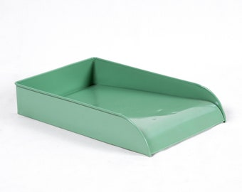 Vintage Steel Letter Tray Refinished in Sage Green - Free U.S. Shipping